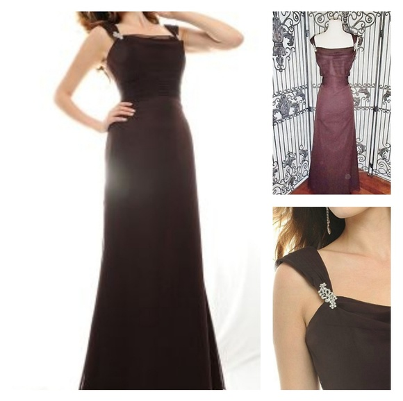 Eden Maids Dresses & Skirts - Floor Length Chiffon Gown in Chocolate